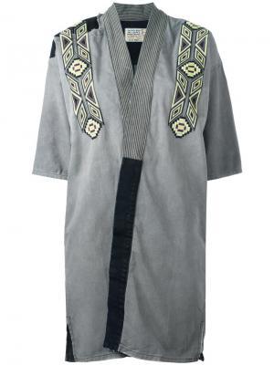 Джинсовое кимоно с вышивкой Sandrine Rose. Цвет: серый