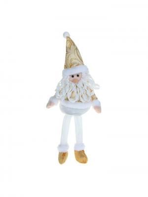 Мягкая игрушка Дед Мороз  в золотом костюме, 35,5 см А М Дизайн. Цвет: белый