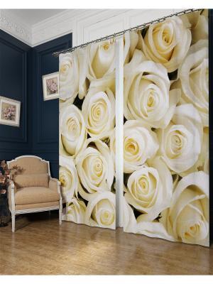Фотошторы Душистые розы , Блэкаут Сирень. Цвет: бежевый, серый, коричневый