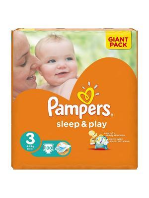 Подгузники Pampers Sleep & Play 5-9 кг, 3 размер, 100 шт.. Цвет: оранжевый