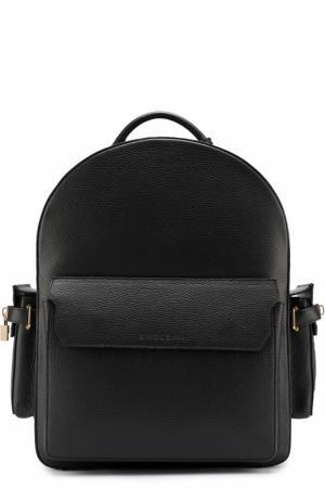 Кожаный рюкзак с тремя внешними карманами Buscemi. Цвет: черный