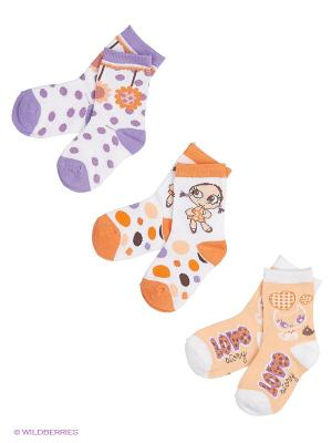 Носки Malerba. Цвет: оранжевый, белый, фиолетовый