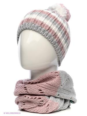 Шапка+шарф Marhatter. Цвет: светло-серый, бледно-розовый
