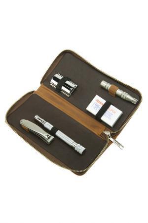 Набор бритвенный 4 предмета DOVO. Цвет: коричневый
