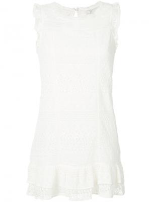Платье с оборками без рукавов Joie. Цвет: белый
