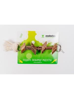Игрушка для птиц Деревянные брусочки на цепи с хлопковым шнуром 35см Zoobaloo. Цвет: коричневый