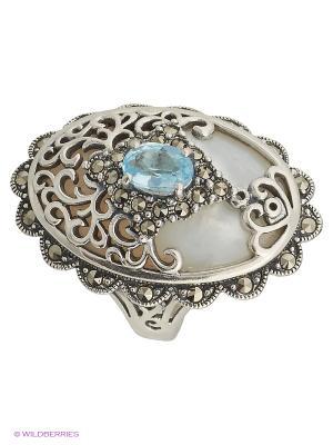 Кольцо МАРКАЗИТ. Цвет: серебристый, белый, голубой