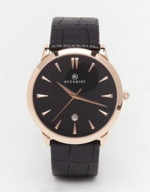 Accurist Классические часы с черным кожаным ремешком. Цвет: черный