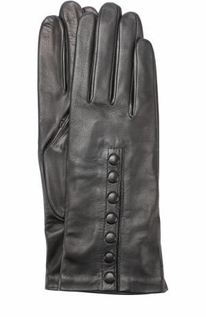 Кожаные перчатки с подкладкой из шелка Agnelle. Цвет: черный