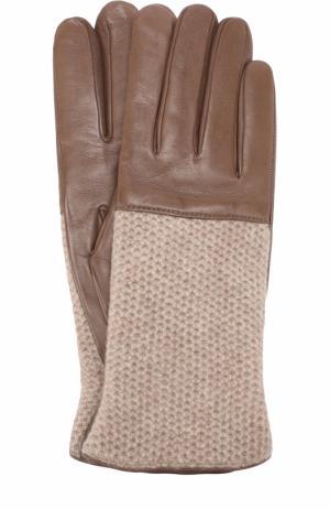 Кожаные перчатки с вязаной отделкой из кашемира Sermoneta Gloves. Цвет: темно-бежевый