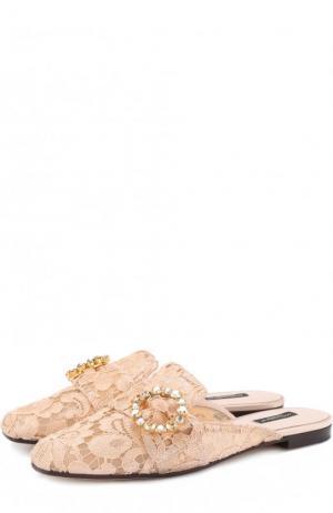 Парчовые сабо с пряжкой Dolce & Gabbana. Цвет: светло-бежевый