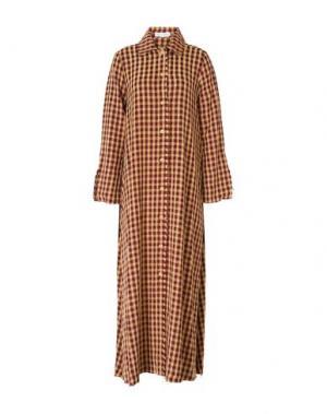 Длинное платье WEILI ZHENG. Цвет: красно-коричневый