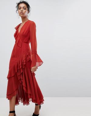 C/meo Collective Платье с запахом и оборками. Цвет: красный