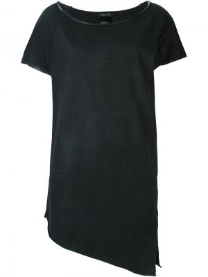 Асимметричная футболка с вырезом-лодочкой Avant Toi. Цвет: чёрный