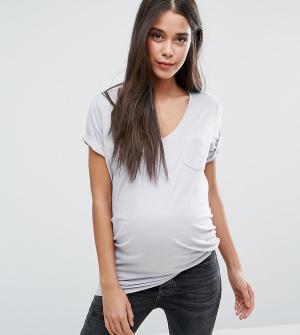 New Look Maternity Футболка для беременных с V-образным вырезом. Цвет: темно-синий