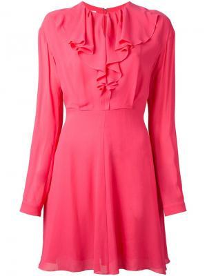 Приталенное платье с оборками Giamba. Цвет: розовый и фиолетовый