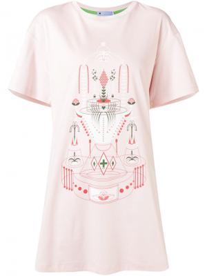 Платье-футболка с принтом фонтана Minjukim. Цвет: розовый и фиолетовый
