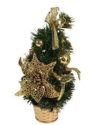 Ёлочка декоративная настольная Рождественское чудо Русские подарки. Цвет: зеленый, золотистый