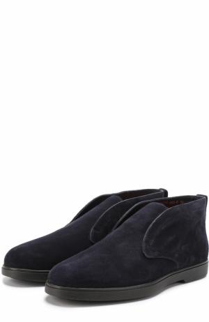 Замшевые ботинки без шнуровки с внутренней меховой отделкой Santoni. Цвет: темно-синий