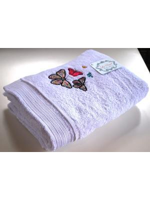 Комплект полотенец 2 предмета (50х90,70х140) Бабочки La Pastel. Цвет: белый