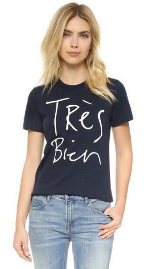 Футболка Tres Bien CHRLDR. Цвет: темно-синий меланж