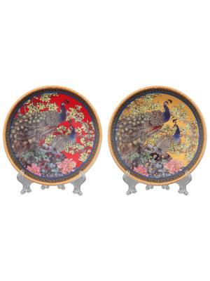 Тарелки декоративные Павлин на красном + золотой Elan Gallery. Цвет: красный, розовый, желтый, зеленый