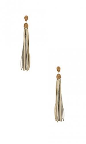 Серьги с кисточками Natalie B Jewelry. Цвет: серый