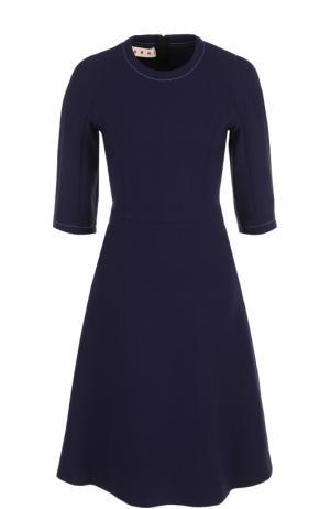 Шерстяное приталенное платье Marni. Цвет: синий