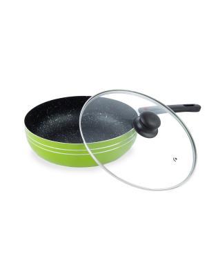Сковорода с антипригарным мраморным покрытием (газ/электро) 26 см Peterhof. Цвет: зеленый