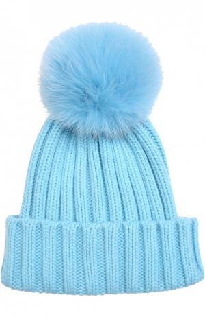 Вязаная шапка с меховым помпоном Nima. Цвет: голубой