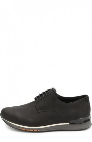 Кожаные кроссовки на шнуровке A. Testoni. Цвет: черный