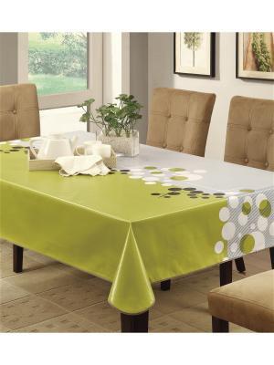 Скатерть Modern Comfort ПВХ с основой из флиса, 120*152 см WHITE FOX. Цвет: белый, зеленый