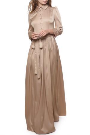 Атласное платье с отложным воротником и пуговицами MARICHUELL. Цвет: капучино