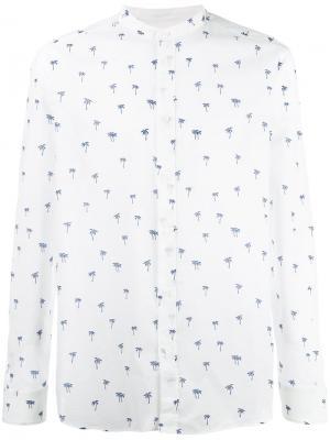 Рубашка с узором из пальм Paolo Pecora. Цвет: белый