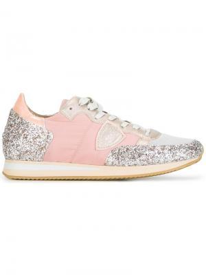 Кроссовки с блестками Philippe Model. Цвет: розовый и фиолетовый
