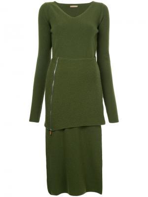 Трикотажное платье с V-образным вырезом Nehera. Цвет: зелёный
