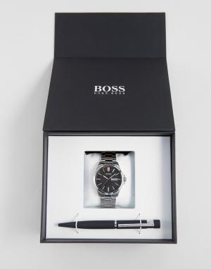 BOSS Часы из нержавеющей стали и ручка в подарочном наборе By Hugo Bos. Цвет: черный