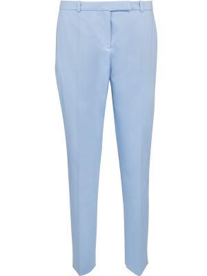 Хлопковые брюки прямого кроя Hugo Boss. Цвет: голубой