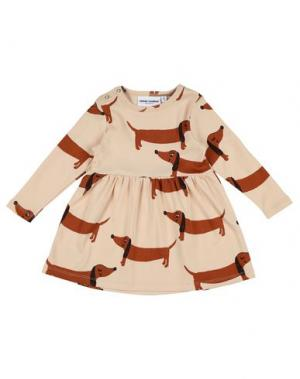 Платье MINI RODINI. Цвет: бежевый