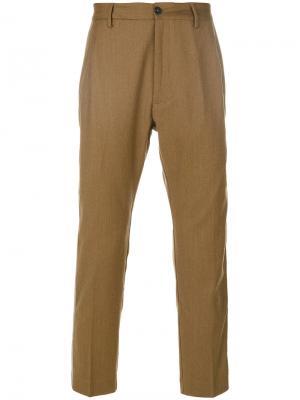 Укороченные брюки с лампасами Pence. Цвет: коричневый