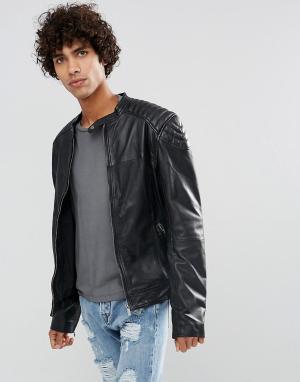 Goosecraft Кожаная байкерская куртка черного цвета. Цвет: черный