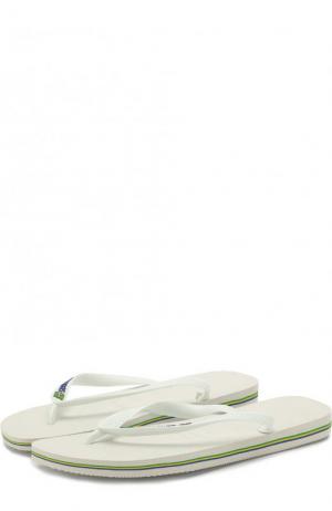 Резиновые шлепанцы Havaianas. Цвет: белый