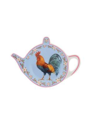 Розетка-подставка под чайный пакетик Петух в цветах на голубом Elan Gallery. Цвет: голубой