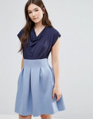 Closet London Платье с драпированной горловиной и пышной юбкой. Цвет: синий