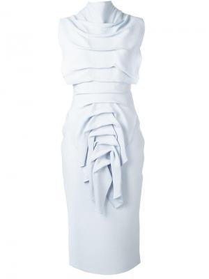 Облегающее платье с декоративными складками Maticevski. Цвет: синий