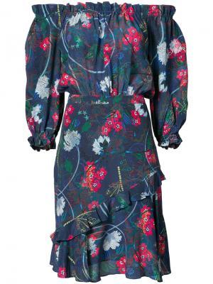 Платье с цветочной вышивкой Saloni. Цвет: синий