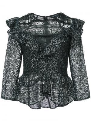 Кружевная блузка с рюшами Marissa Webb. Цвет: чёрный