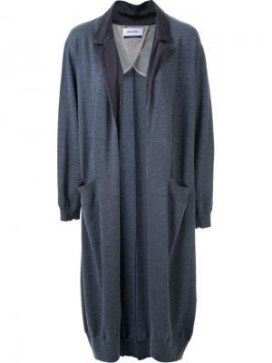 Notched lapel cardi-coat Muveil. Цвет: серый