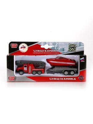 Набор Технопарк металлический УРАЛ. Пожарная служба с лодкой на прицепе.. Цвет: красный,серый