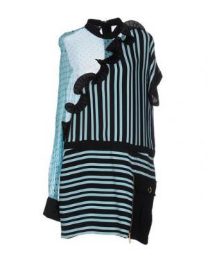Короткое платье EMANUEL UNGARO. Цвет: бирюзовый